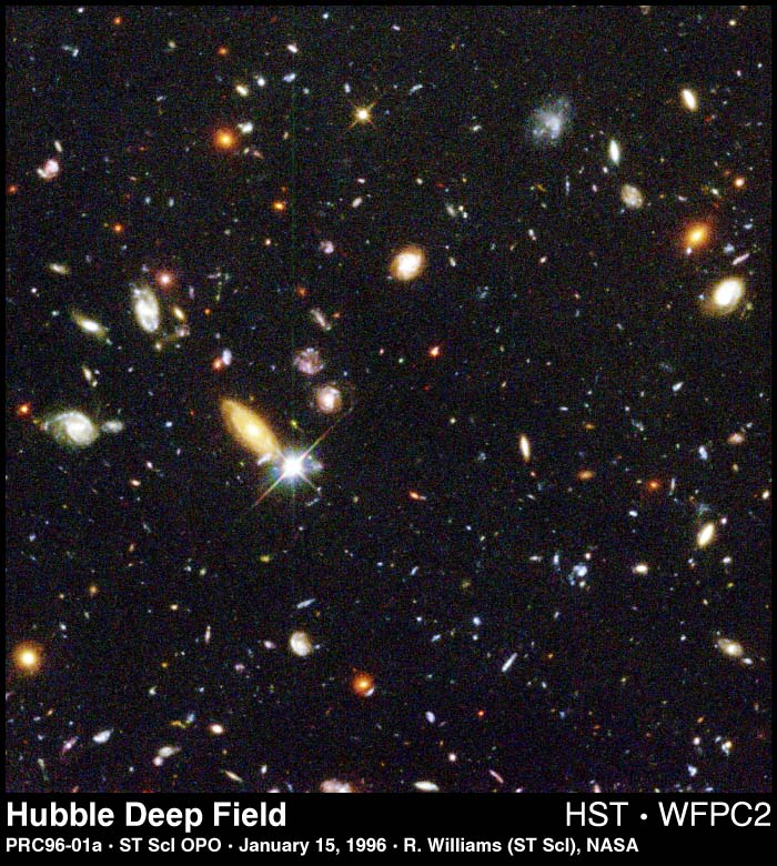 Galaxies in photo may be larger than they appear